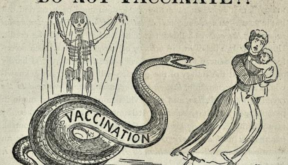 A cartoon from a December 1894 anti-vaccination publication Courtesty of The Historical Medical Library of The College of Physicians of Philadelphia